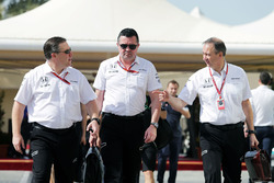 Zak Brown, McLaren Executive Director with Eric Boullier, McLaren Racing Director and Jonathan Neale, McLaren Chief Operating Officer