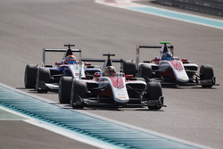Charles Leclerc, ART Grand Prix leads Antonio Fuoco, Trident & Nyck De Vries, ART Grand Prix