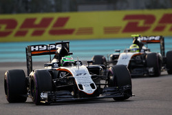 Nico Hulkenberg, Sahara Force India F1 VJM09 leads team mate Sergio Perez, Sahara Force India F1 VJM09