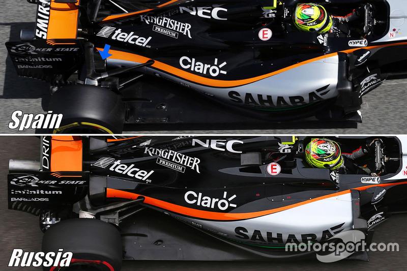 Sahara Force India F1 VJM09 vergelijking ophanging