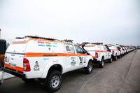 Vehículos de apoyo preparados para el largo viaje a Sudamérica