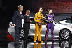 Bob Carter, SVP Auto Ops Toyota, Akio Toyoda, President Toyota & NASCAR drivers Kyle Busch and Denny Hamlin