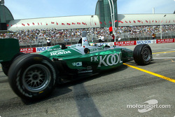 Paul Tracy leaving the pits