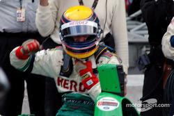 Roberto Moreno celebrates