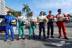 Mexican drivers pose in preparation for the race in Mexico City