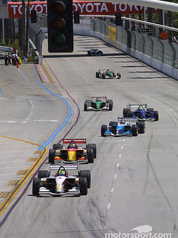 Pace lap: Bruno Junqueira leads the field