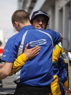 Felipe Nasr receives congratulations from the team