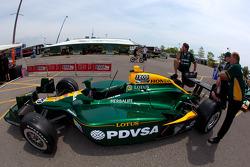 Car of EJ Viso, KV Racing Technology-Lotus at technical inspection
