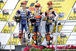 Podium: Sieger Dani Pedrosa, 2. Jorge Lorenzo, 3. Casey Stoner