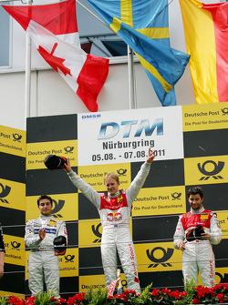 Podium: race winner Mattias Ekström, Audi Sport Team Abt, second place Bruno Spengler, Team HWA AMG Mercedes, third place Mike Rockenfeller, Audi Sport Team Abt