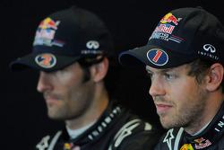Press conference: race winner Sebastian Vettel, Red Bull Racing, with second place Mark Webber, Red Bull Racing