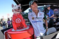 Takuma Sato, KV Racing Technology-Lotus with Bullseye, the Target dog