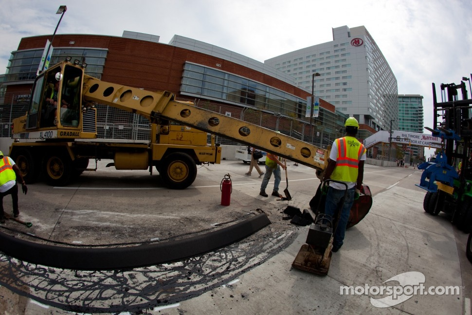 Track construction is one of the major costs of a temporary street circuit