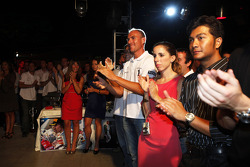 Fairuz Fauzy and the guests watch the GP2 prize giving ceremony