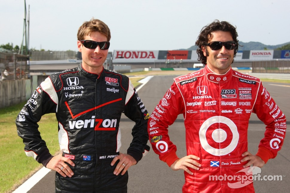 2011 championship contenders Will Power, Team Penske and Dario Franchitti, Target Chip Ganassi Racing