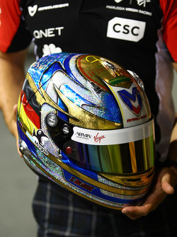 Timo Glock, Marussia Virgin Racing with a special edition helmet