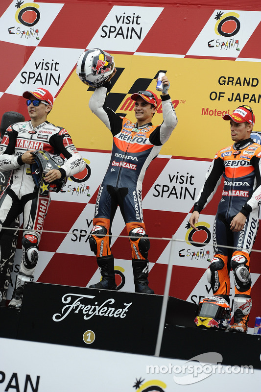 Podium: race winner Dani Pedrosa, second place Jorge Lorenzo, third place Casey Stoner