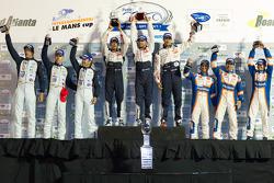 P1 podium: class and overall winners Franck Montagny, Stéphane Sarrazin and Alexander Wurz, second place Nicolas Lapierre, Nicolas Minassian and Marc Gene, third place Adrian Fernandez, Stefan Mücke and Harold Primat