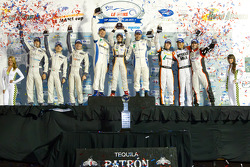PC podium: class winners Ken Dobson, Henri Richard and Ryan Lewis, second place Kyle Marcelli, Tomy Drissi and Chapman Ducote, third place Gunnar Jeannette, Ricardo Gonzalez and Rudy Junco