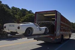 Example of classic Porsche race car transporter in use