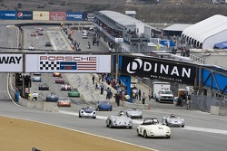 Classic Porsche race cars start take to the track
