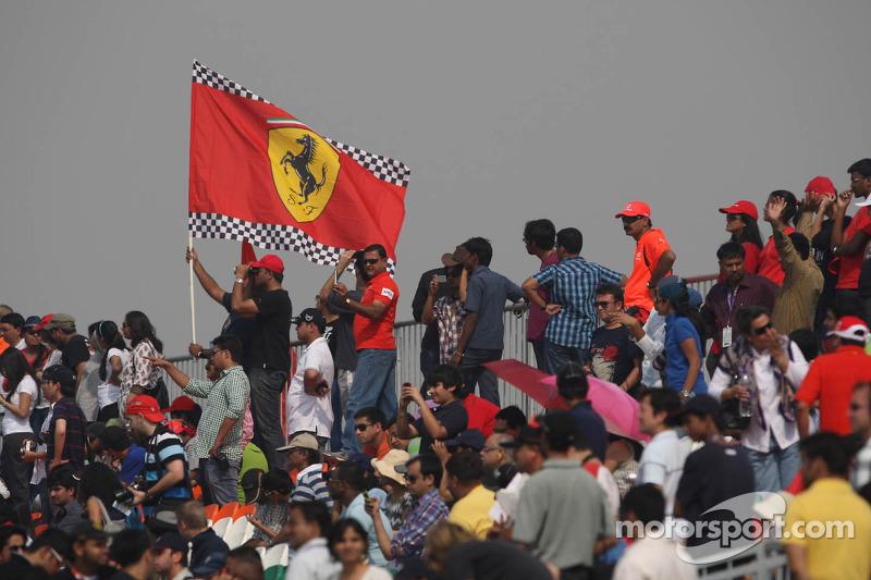 Ferrari fans and flag