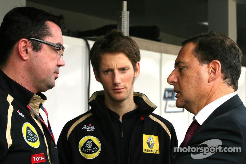Eric Boullier, Team Principal, Lotus Renault GP, Romain Grosjean, French Minister of Industry, Energ