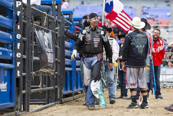 Kyle Petty gets up after riding a bull