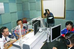 Franck Montagny during a radio show