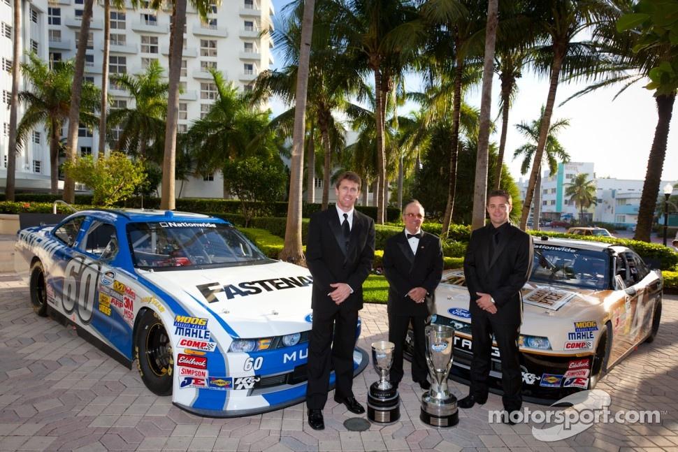 Carl Edwards, Roush-Fenway Ford, NASCAR Nationwide Series champion owner Jack Roush, and NASCAR Nationwide Series champion driver Ricky Stenhouse Jr., Roush-Fenway Ford
