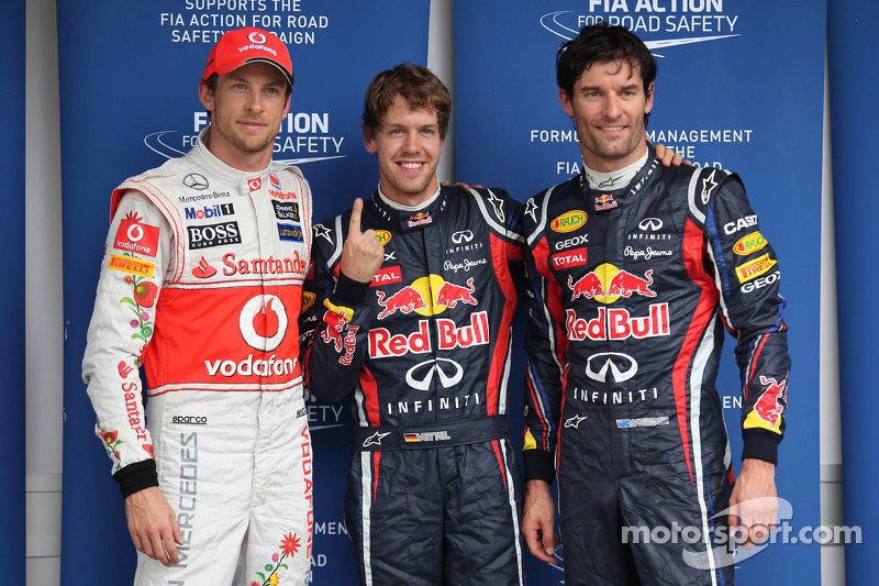 Sebastian Vettel, Red Bull Racing gets pole position and with Jenson Button, McLaren Mercedes and Ma