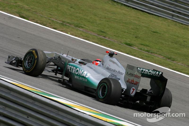Michael Schumacher, Mercedes GP gets a puncture