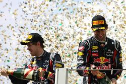Podium: race winner Mark Webber, Red Bull Racing and second place Sebastian Vettel, Red Bull Racing