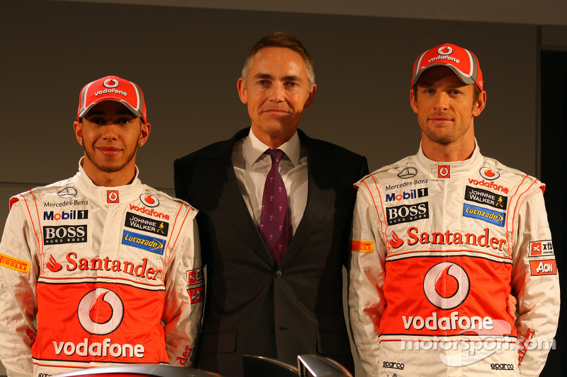 Lewis Hamilton, McLaren Mercedes, Martin Whitmarsh, McLaren, Chief Executive Officer en Jenson Button, McLaren Mercedes
