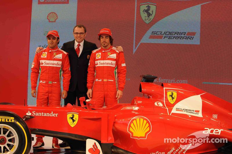 Fernando Alonso, Felipe Massa and Stefano Domenicali