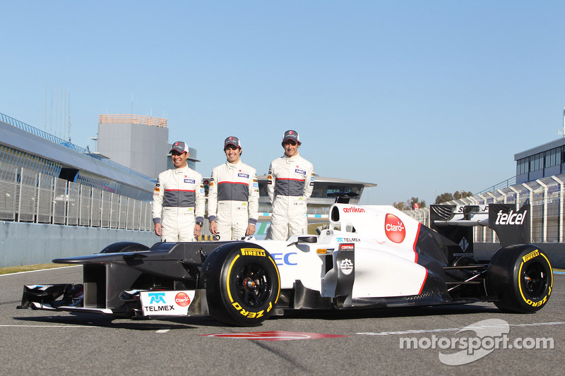 Kamui Kobayashi, Sauber F1 Team with Sergio Perez, Sauber F1 Team and Esteban Gutierrez, Sauber F1 T