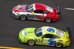 #45 Flying Lizard Motorsports with Wright Motorsports Porsche GT3: Jorg Bergmeister, Patrick Long, Seth Neiman, Mike Rockenfeller, #34 Orbit/GMG Porsche GT3: Michael DeFontes, Phil Fogg, Miro Konopka, Jan Vonka