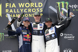 Podium: winner Johan Kristoffersson, Volkswagen Team Sweden, second place Timmy Hansen, Team Peugeot Hansen, third place Petter Solberg, PSRX Volkswagen Sweden