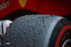The tyres of Sebastian Vettel, Ferrari SF70H, at the end of the race