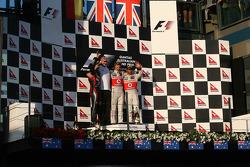 Sebastian Vettel, Red Bull Racing with Jenson Button, McLaren Mercedes and Lewis Hamilton, McLaren Mercedes