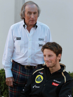 Sir Jackie Stewart with Romain Grosjean, Lotus Renault F1 Team
