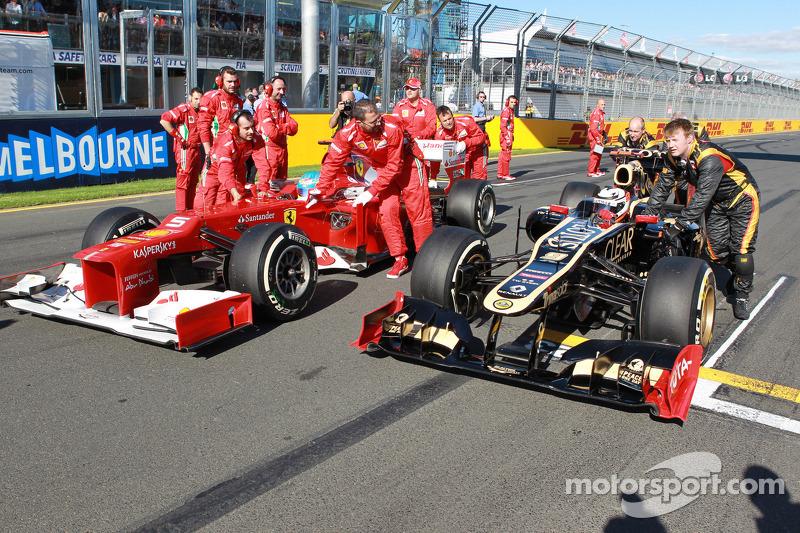 Fernando Alonso, Scuderia Ferrari en Kimi Raikkonen, Lotus Renault F1 Team
