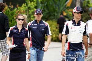Pastor Maldonado, Williams with team mate Bruno Senna, Williams