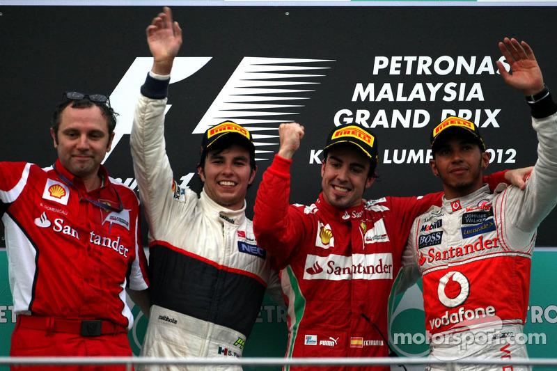 2012 : 1. Fernando Alonso, 2. Sergio Pérez, 3. Lewis Hamilton