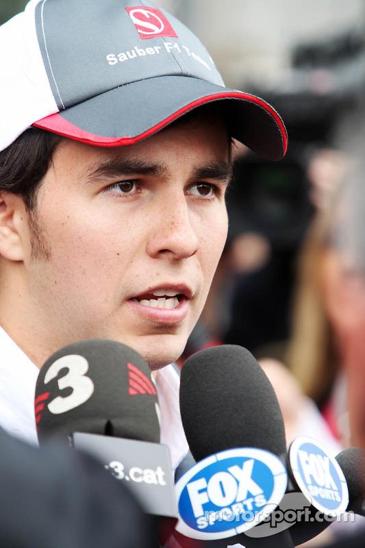 Sergio Pérez, Sauber F1 Team con los medios