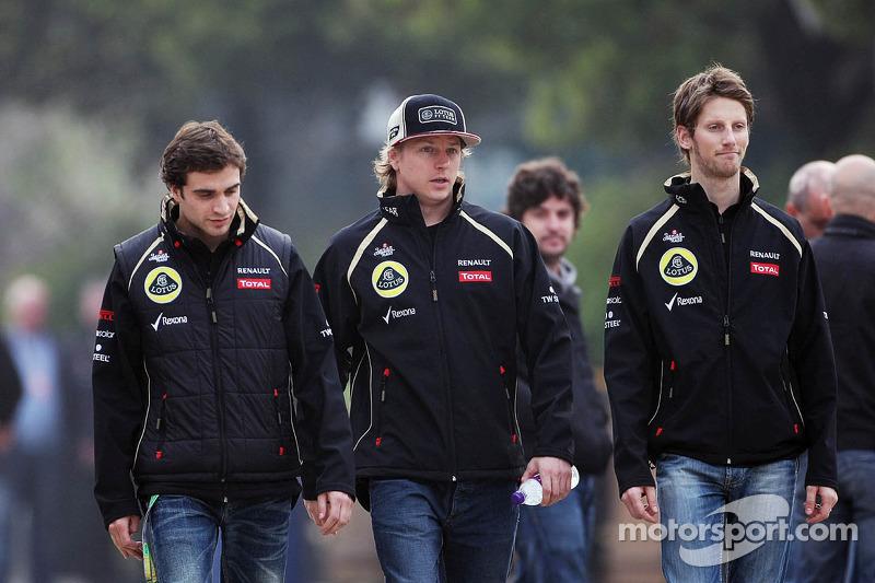 Jérôme d'Ambrosio, Lotus derde rijder met Kimi Raikkonen, Lotus F1 Team en Romain Grosjean, Lotus F1 Team