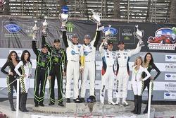 ALMS GT podium: winners Oliver Gavin, Tom Milner, second place Joey Hand, Dirk Muller, third place Scott Sharp, Johannes van Overbeek