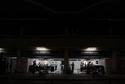 McLaren pit garages at night