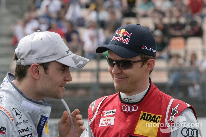 Jamie Green, Team HWA AMG Mercedes, AMG Mercedes C-Coupe en Mattias Ekström, Audi Sport Team Abt Spo