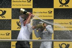 Gary Paffett, Team HWA AMG Mercedes, AMG Mercedes C-Coupe and Hubert Huegle, AMG Mercedes, Podium